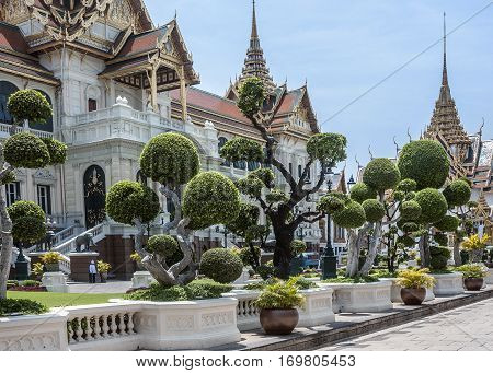 Thailand Bangkok. Chakri Maha Prasat - the Royal Palace with the Chakri Throne Room and the apartments of the king and queen.