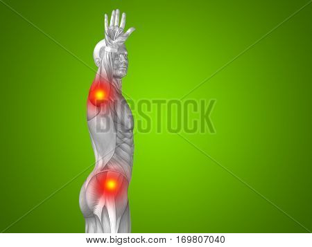 Conceptual 3D illustration human man anatomy upper body health design, joint articular pain, ache injury on green background for medical fitness medicine, bone, care, hurt, osteoporosis arthritis body
