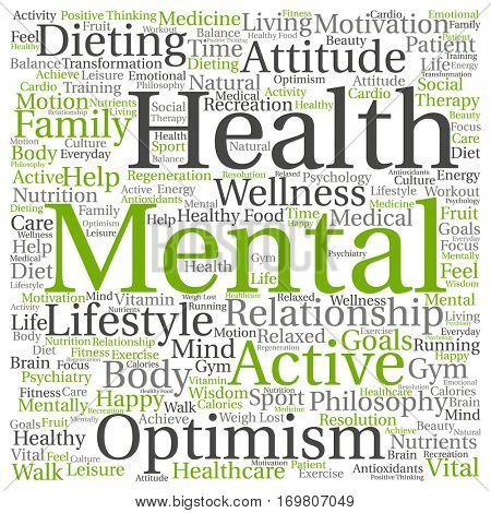 Concept or conceptual mental health or positive thinking abstract word cloud isolated on background , metaphor to optimism, psychology, mind, healthcare, thinking, attitude, balance or motivation