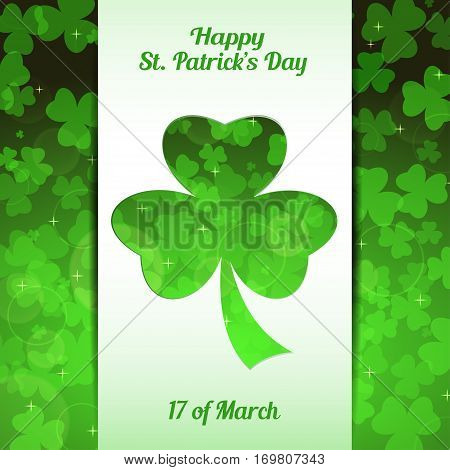 Vector abstract gradient green background for Happy St. Patrick's Day with white stripe leaves of clover pattern and cutout silhouette.
