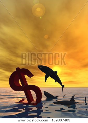 Conceptual 3D illustration bloody dollar symbol or sign sinking in water or sea, with black sharks eating , metaphor or concept for crisis in US, financial, crash, danger, business or currency designs