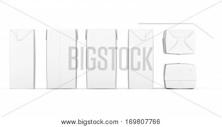 Group of blank juice boxes. Retail package mockup set. Isolated on white. 3d rendering.