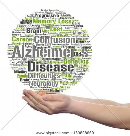 Concept conceptual Alzheimer`s disease symptoms abstract word cloud held in hands isolated on background  metaphor to care, loss, caregiving, aging, resistance, neurology old language motor resistance