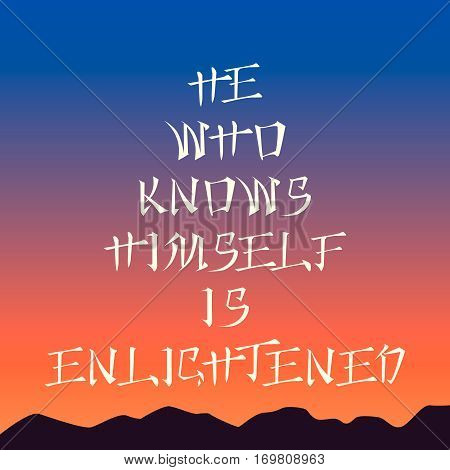 583177 Poster Template - He Who Knows Himself Is Enlightened , Sunset Background, Asian Style Letter