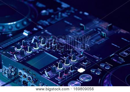 Close up view of professional DJ console