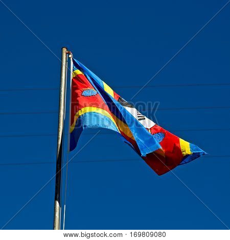In Swaziland Waving Flag  And Sky