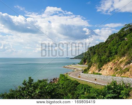 Sea side road near the mountain in the eastern sea coast of chanthaburi thailand