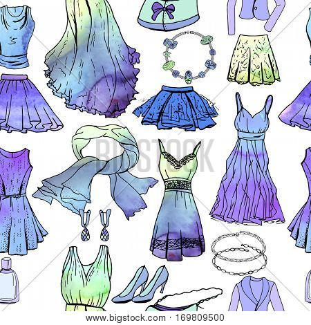 Seamless pattern with woman romantic clothes, watercolor effect. Blue and green color,black contour, objects on white