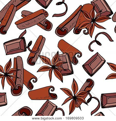 Seamless Christmas pattern with cinnamon and chocolate. Endless texture for festive design