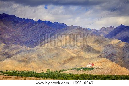 A monastery in the mountains in Kashmir near Leh, India