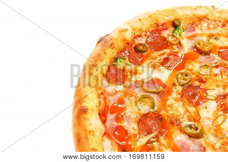 Delicious Classic Italian Burning Pizza With Sausages, Pepper, Jalapeno Sauce And Cheese