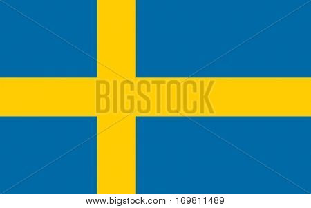 Official colors and proportion flag of Sweden, Vector Swedish symbol illustration for web and apps in eps10.