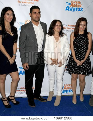 LOS ANGELES - DEC 6:  Wilmer Valderrama, Sobeida Valderrama, sisters Stephanie, Marilyn at the The Actors Fund's Looking Ahead Awards  at Taglyan Complex on December 6, 2016 in Los Angeles, CA