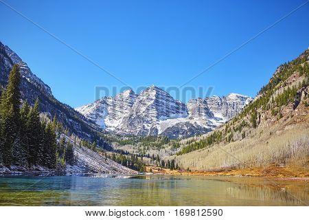 Maroon Bells Mountain Lake  Landscape, Colorado, Usa.