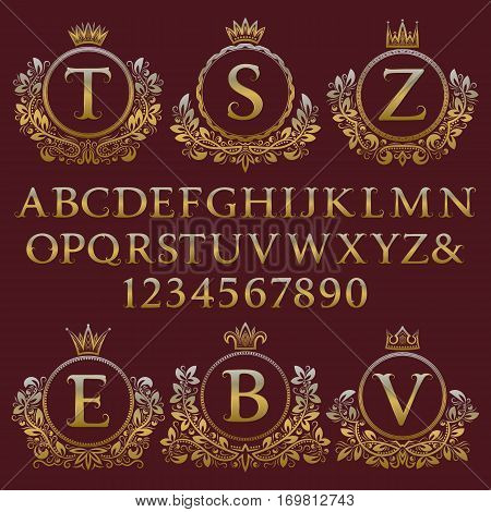Vintage monogram kit. Golden letters numbers and floral coat of arms frames for creating initial logo in antique style.