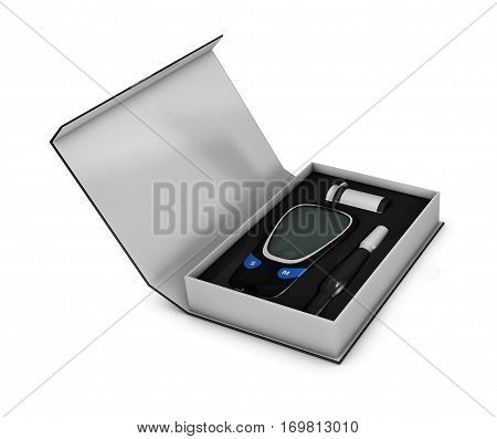 3D Illustration of glucometer in the box with test strip on isolated white background