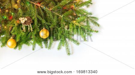 Christmas Fir Tree With Decoration On White Background