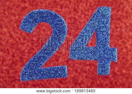 Number twenty-four blue color over a red background. Anniversary. Horizontal