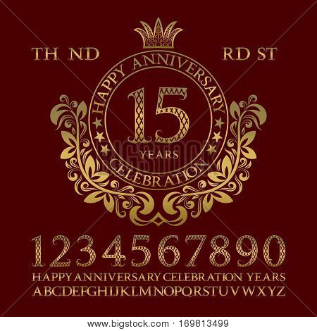 Happy anniversary celebration sign kit. Golden numbers alphabet frame and some words for creating congratulatory emblems.
