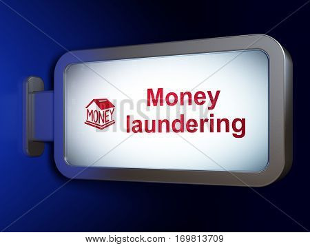 Banking concept: Money Laundering and Money Box on advertising billboard background, 3D rendering