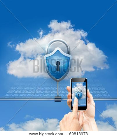 Cloud data security and phone security concept design illustration banner