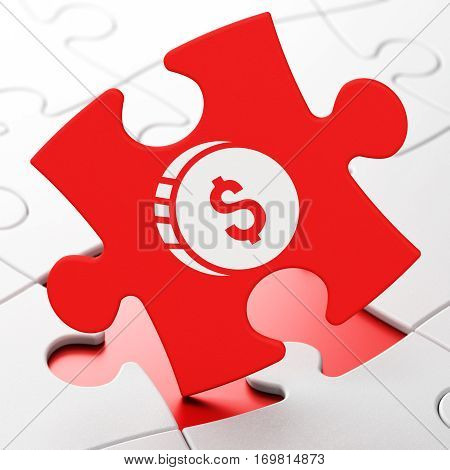 Money concept: Dollar Coin on Red puzzle pieces background, 3D rendering