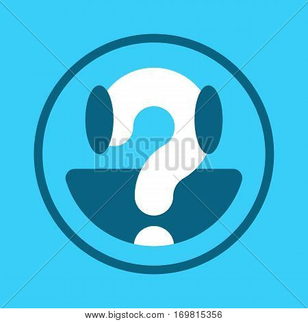 Blue smiley face icon with centered white question mark in a concept of questioning confusion unknown or a help button vector illustration