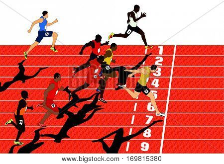 Vector Olympics Competition Athletes Run Race with track number end line winner crossing it by his foot sportsman body position while competing in sport game who will get gold silver bronze medal poster