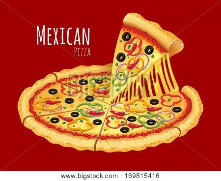 A vector illustration of a cooked Mexican Pizza