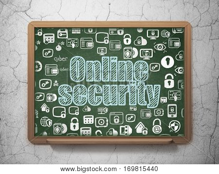 Security concept: Chalk Blue text Online Security on School board background with  Hand Drawn Security Icons, 3D Rendering