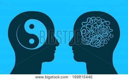 Yin yang and maze symbol in thinking heads as concept of harmony and chaos vector illustration