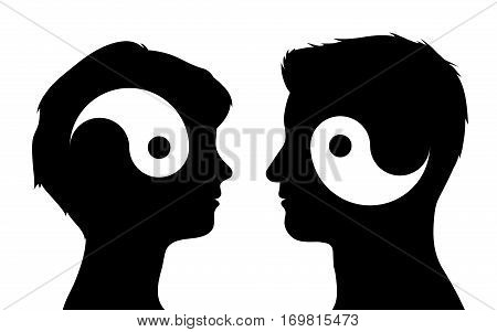 Yin yang symbols in man and woman head silhouettes relationship concept vector illustration