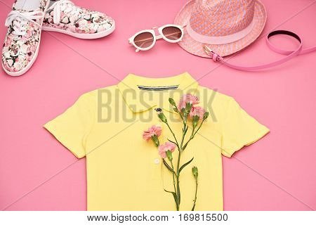 Fashion Spring girl clothes set, accessories. Summer Hipster style.Design Trendy sunglasses, floral gumshoes.Summer hipster dress, fashion hat, spring flower.Summer Urban woman look.Perspective view