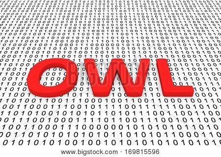 owl in the form of binary code, 3D illustration