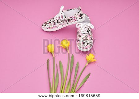 Fashion Summer Hipster style. Design Spring girl clothes set, accessories. Trendy floral gumshoes.Summer hipster shoes, spring yellow flowers. Summer Urban woman Minimal look. Perspective view
