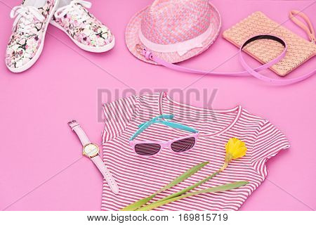 Fashion Summer Hipster style.Design Spring girl clothes set, Accessories.Trendy sunglasses, floral gumshoes.Summer hipster dress, fashion watch hat, spring flower.Summer Urban woman look.Perspective view