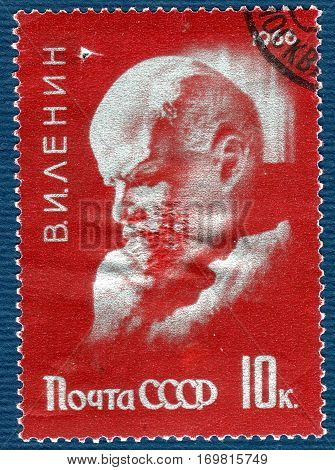 USSR - CIRCA 1966: Postage stamp printed in USSR  with a picture of Vladimir Ilyich Lenin. circa 1966