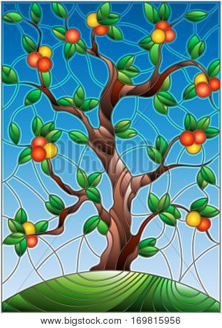 Illustration in stained glass style with an orange tree standing alone on a hill against the sky