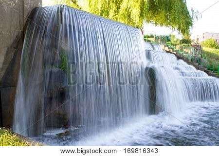 A Beautiful Waterfall In The City