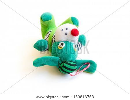 The Miniature green toy dog.