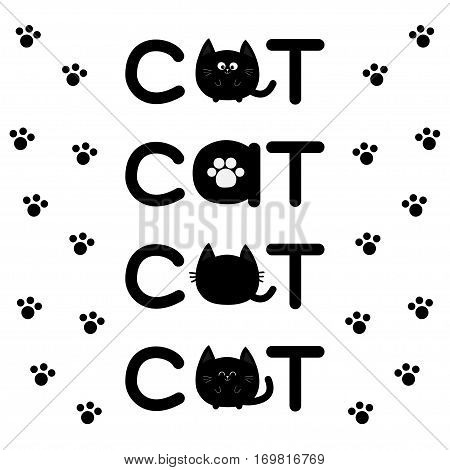 Round shape black cat text icon set. Lettering Paw print Cute cartoon character. Kawaii animal. Big tail whisker eyes. Kitty kitten Baby pet collection. White background Isolated Flat Vector