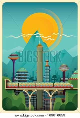 Modern daily city scene with the train, buildings and mountain. Vector illustration.