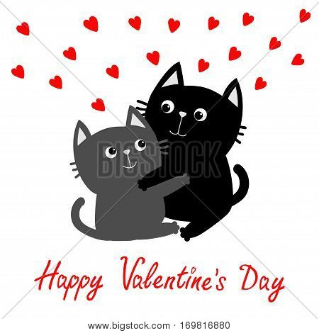 Happy Valentines day. Black Gray Cat hugging couple family. Red hearts Hug embrace cuddle. Greeting card. Cute funny cartoon character. Kitty Whisker Baby pet White background. Isolated. Flat Vector