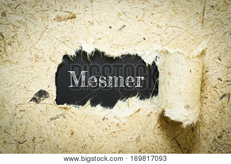 Text Mesmer on paper black has Mulberry paper background you can apply to your product.