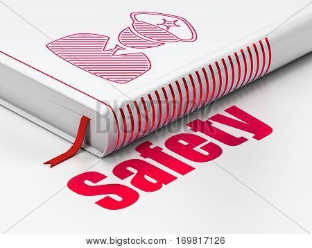 Security concept: closed book with Red Police icon and text Safety on floor, white background, 3D rendering