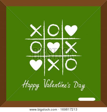 Happy Valentines Day. Love card. Tic tac toe game with cross and three heart sign mark XOXO Chalk line on school board. Wooden frame. Flat design Green background. Vector illustration
