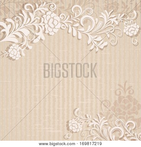 Abstract beige grungy floral card template. Retro design.