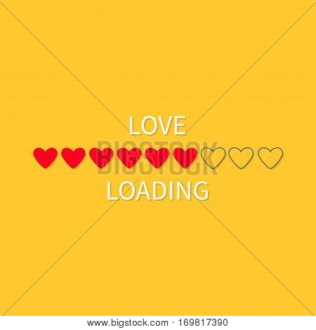 Progress status bar icon. Love loading collection. Red heart. Funny happy valentines day element.Web design app download timer. Yellow background. Flat trendy object. Isolated. Vector illustration