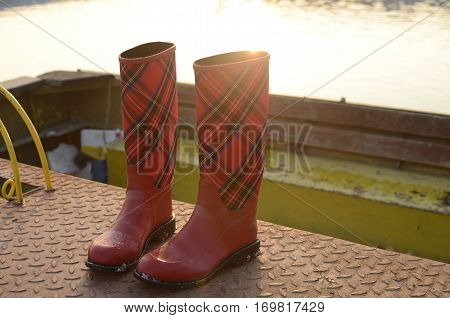 Red Boots On River