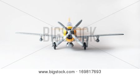 Close Up Of A Toy Plane On White Background,